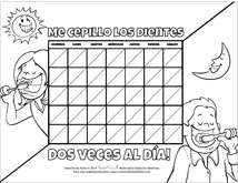 Brushing Chart for Kids Spanish Activity Sheets for Pediatric Dentists