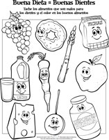 Healthy Foods Spanish Activity Sheets for Pediatric Dentists