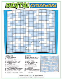Dental Crossword Activity Sheet for Pediatric Dentists