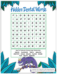 Hidden Dental Words Activity Sheet for Pediatric Dentists