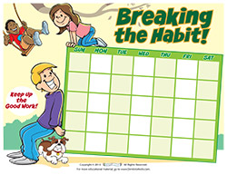 Kids Breaking the Habit Motivational Chart for Parents