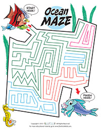 Ocean Maze Activity Sheet for Pediatric Dentists