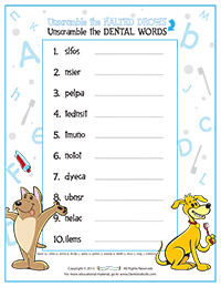 unscramble the dental words activity sheet for pediatric dentists - Fun Activity Sheets